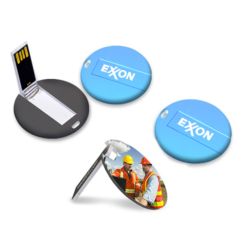 4GB Flat Round Flash Drive