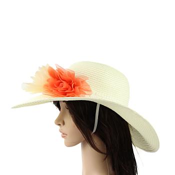 Flowery Design Straw Hat
