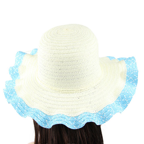 Wavy Brim Straw Hat Image 1