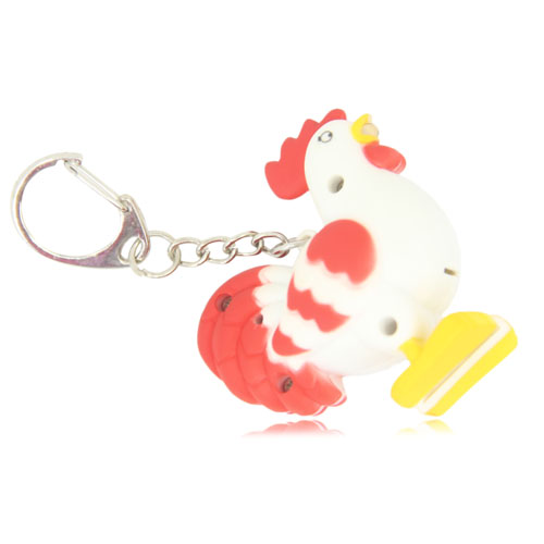 Rooster Shaped Led Sound Keychain Image 6