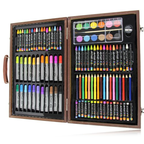 Colorful Art Set with Wooden Box