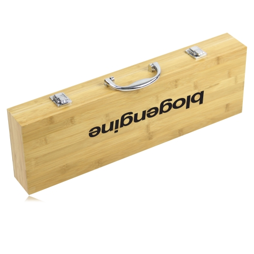 5 Piece Bbq Set In Bamboo Box