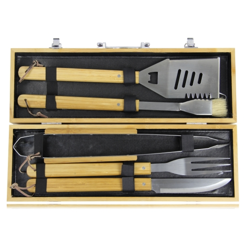 5 Piece Bbq Set In Bamboo Box Image 2