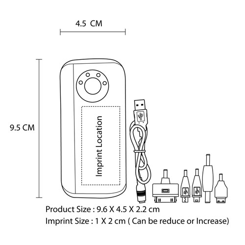 Power Bank Charger With Flashlight Imprint Image