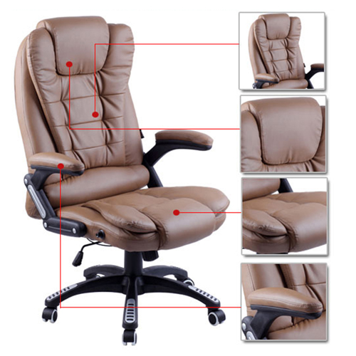 Reclining High Back Office Chair With Adjustable Arms Image 6