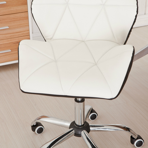 Cushioned Chrome Legs Lift Swivel Chair Image 9