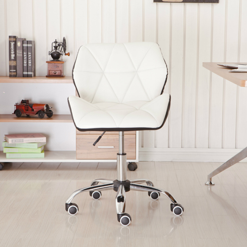 Cushioned Chrome Legs Lift Swivel Chair Image 1