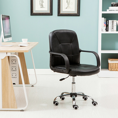 Chrome Base Leather Office Armchair Image 3