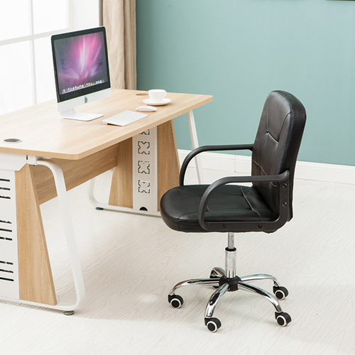 Chrome Base Leather Office Armchair Image 5
