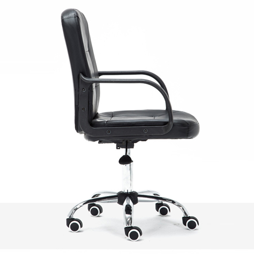 Chrome Base Leather Office Armchair Image 6