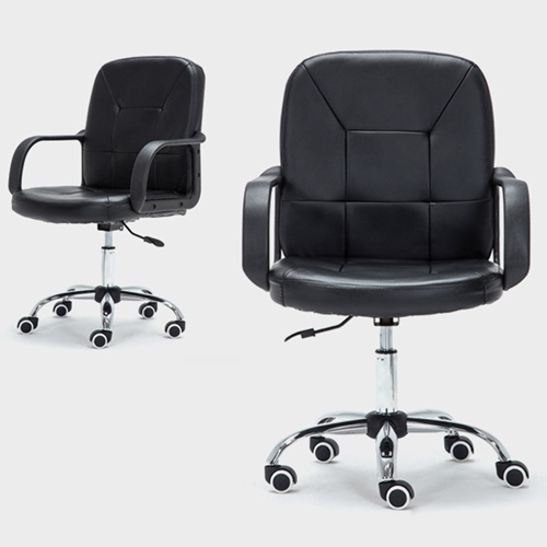 Chrome Base Leather Office Armchair Image 7