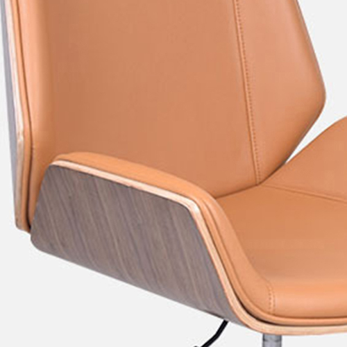 Mid-Back Plywood Leather Chair With Cross Base Image 9