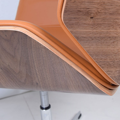 Mid-Back Plywood Leather Chair With Cross Base Image 11