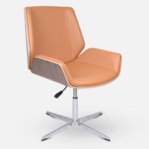Mid-Back Plywood Leather Chair With Cross Base