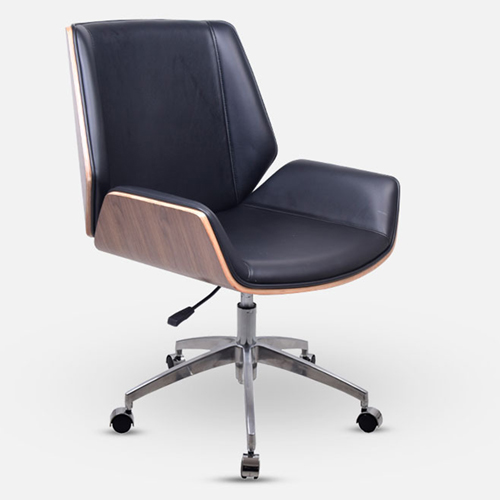Mid-Back Plywood Leather Chair With Cross Base Image 1