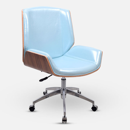 Mid-Back Plywood Leather Chair With Cross Base Image 2