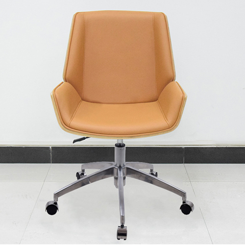 Mid-Back Plywood Leather Chair With Cross Base Image 3