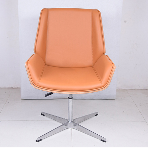 Mid-Back Plywood Leather Chair With Cross Base Image 4