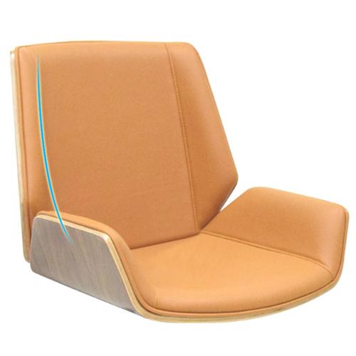 Mid-Back Plywood Leather Chair With Cross Base Image 6