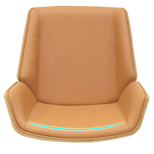 Mid-Back Plywood Leather Chair With Cross Base Image 7