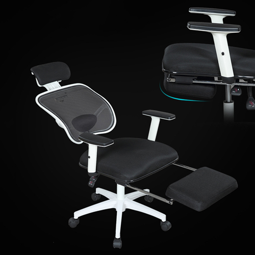 Reclining Rotating Mesh Chair With Footrest Image 8