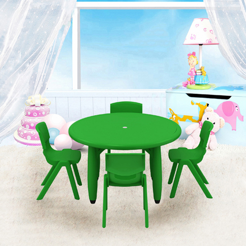 Cashish Height-Adjustable Rounded Table with Chairs Image 1