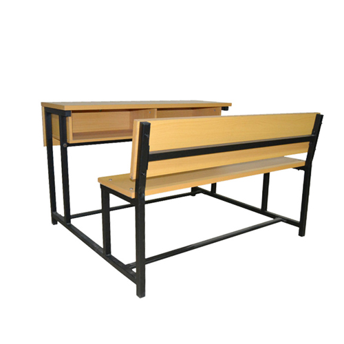 Dual Desk Two Seater With Iron Frame Image 1
