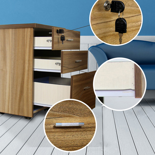 Melamine 3 Drawer Chest With Lock Image 12