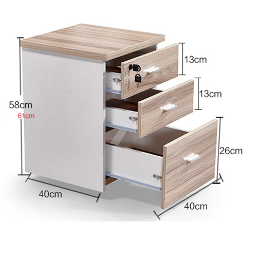 Melamine 3 Drawer Chest With Lock Image 15