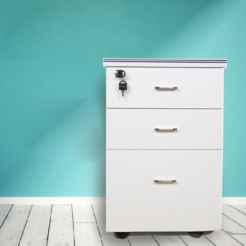 Melamine 3 Drawer Chest With Lock Image 2