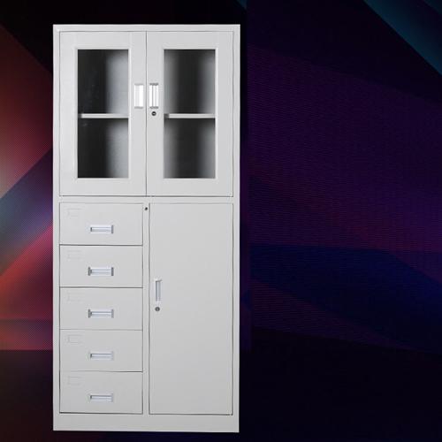 Partial Five Bucket Steel File Cabinet Image 1