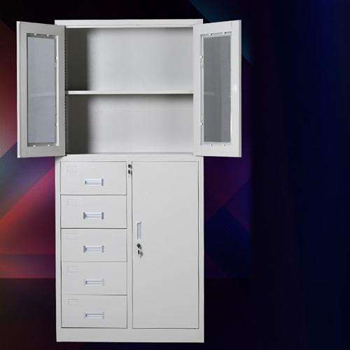 Partial Five Bucket Steel File Cabinet Image 2