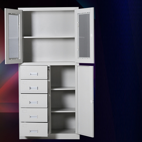 Partial Five Bucket Steel File Cabinet Image 3
