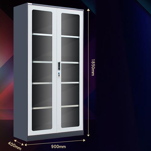 Steel Double Door Bookcase With Glass Door Image 11
