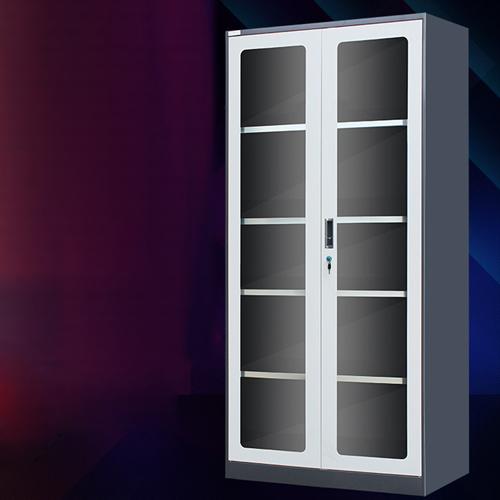 Steel Double Door Bookcase With Glass Door