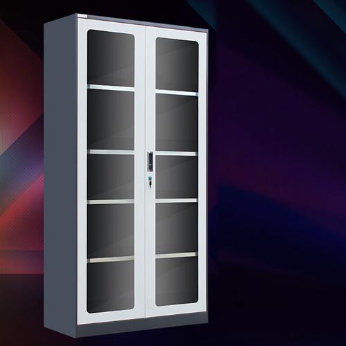 Steel Double Door Bookcase With Glass Door Image 1