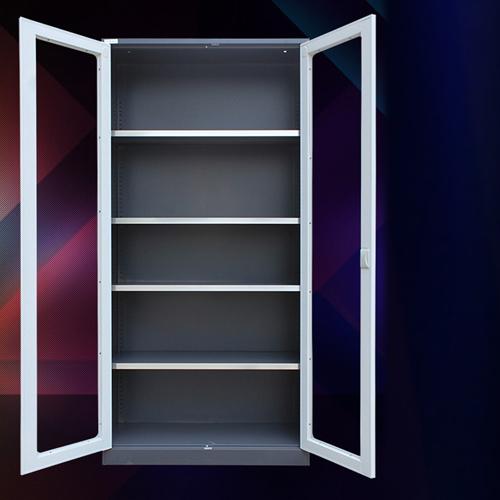 Steel Double Door Bookcase With Glass Door Image 3
