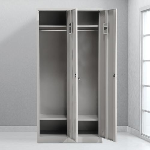 Steel Lockable Two-Door Dressing Wardrobe Image 2