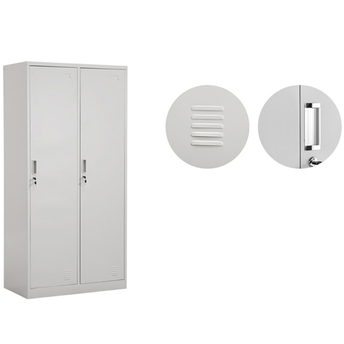 Steel Lockable Two-Door Dressing Wardrobe Image 7