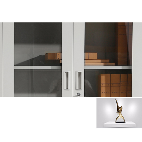 Large Metal Lockable File Cabinet With Glass Door Image 13