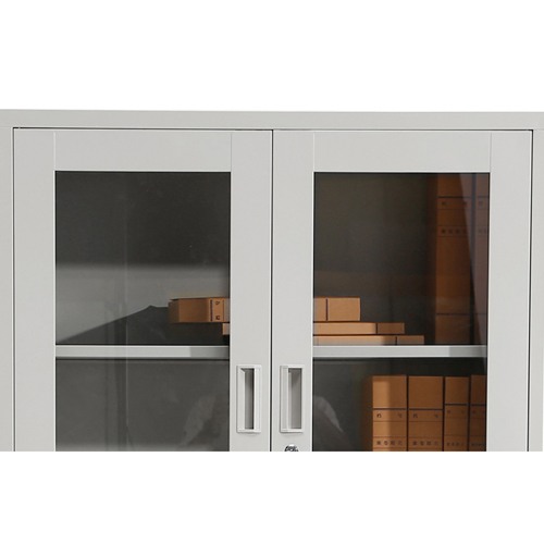 Large Metal Lockable File Cabinet With Glass Door Image 14