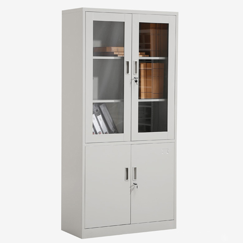 Large Metal Lockable File Cabinet With Glass Door