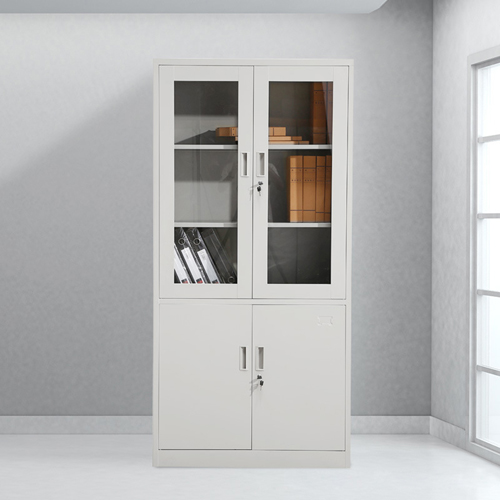 Large Metal Lockable File Cabinet With Glass Door Image 1