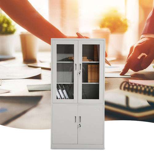 Large Metal Lockable File Cabinet With Glass Door Image 3
