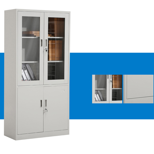 Large Metal Lockable File Cabinet With Glass Door Image 6