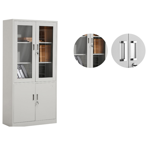 Large Metal Lockable File Cabinet With Glass Door Image 8