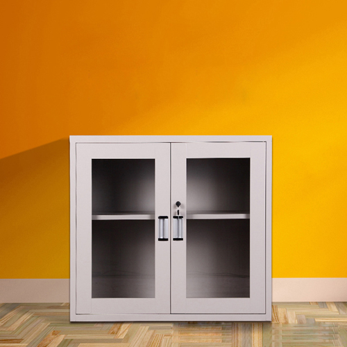Steel Side File Cabinet with Glass Doors Image 1