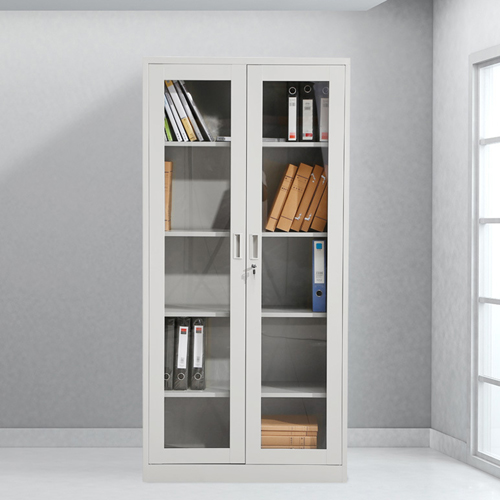 Metal File Storage Cabinet with Glass Door Image 1