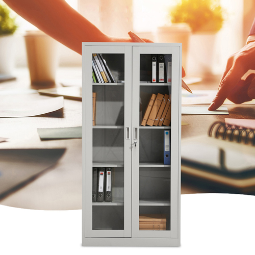 Metal File Storage Cabinet with Glass Door Image 3