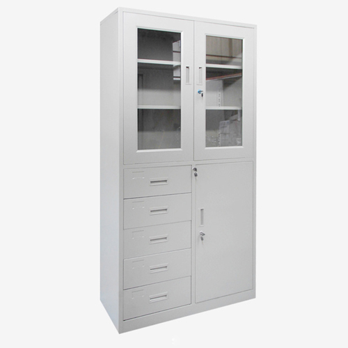 Glass Door Metal Storage Modern Cabinet